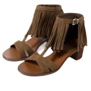 ZARA NWOT sandal with fringe ankle strap